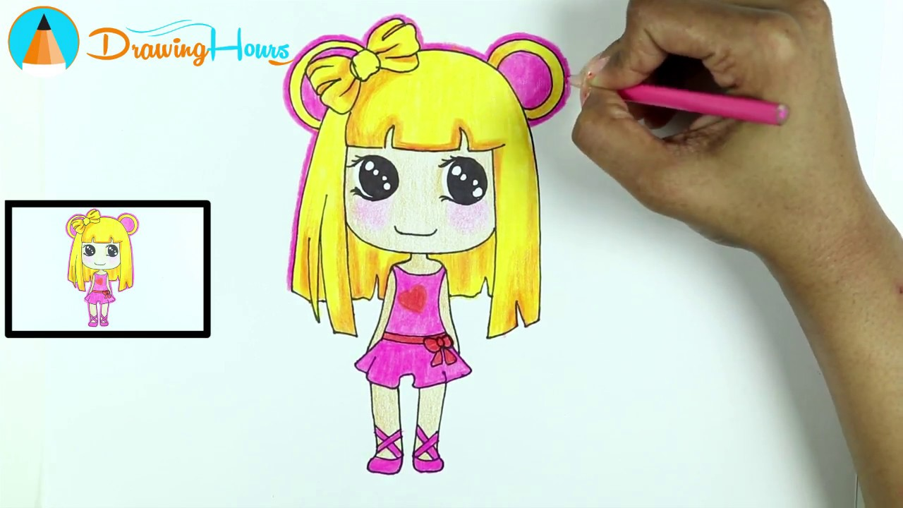 How to draw anime manga girl for kids by drawinghours
