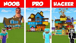 Minecraft NOOB vs PRO vs HACKER: HELLO NEIGHBOR HOUSE BUILD CHALLENGE in Minecraft  Animation