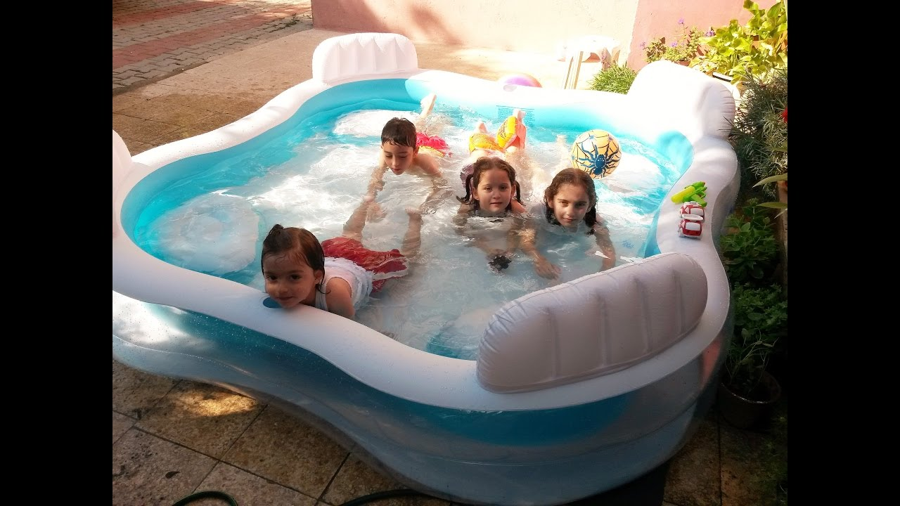 Kids having fun in inflatable water pool swimming for children forkids youtube for Can babies swim in saltwater pools
