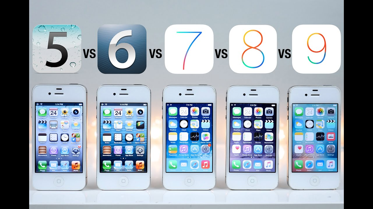 iOS 5 vs iOS 6 vs iOS 7 vs iOS 8 vs iOS 9 on iPhone 4S ...