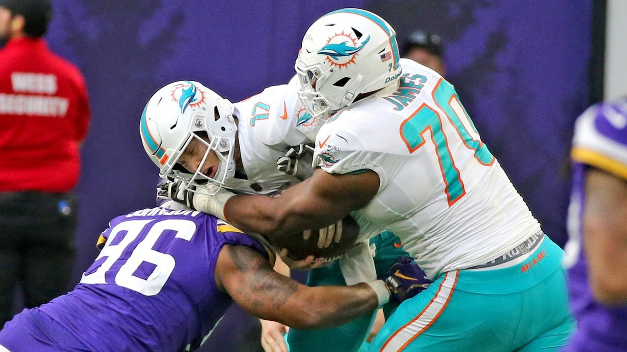 cheap for discount f7603 422e6 Dolphins tackle Ja'Wuan James isn't happy about the way he protected  Tannehill