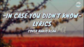 Brett Young In Case You Didn 39 t Know Lyrics Cover Mario G Klau
