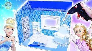 リカちゃん お部屋をDIY❤100円ショップの材料でシンデレラのお部屋を手作り⭐グルーガンでミニチュアドールハウス作り🍭おもちゃ 人形 アニメ