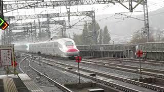 東北新幹線E6系こまち3号秋田行+E5系はやぶさ3号新青森行一ノ関駅高速通過!