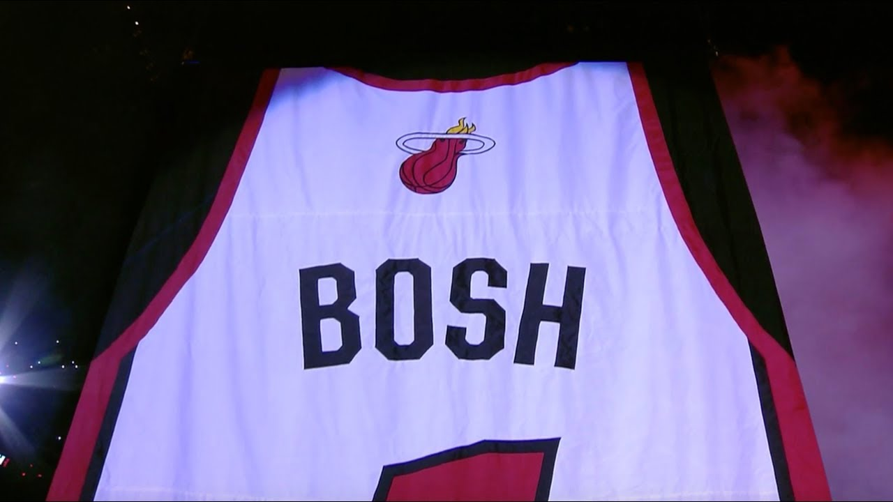 87090e56683 Chris Bosh Gets Miami Heat Jersey Retired And Hung In The Rafters ...