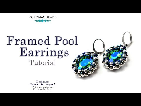 Framed Pool Earrings - DIY Jewelry Making Tutorial by PotomacBeads