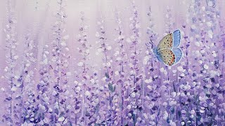 Easy Lavender Field with Blue Butterfly Acrylic Painting LIVE Tutorial
