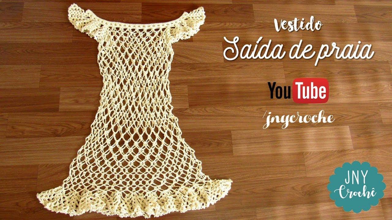 8ab1b09a7057 Vestido/Saída de praia de crochê passo a passo - JNY Crochê - YouTube