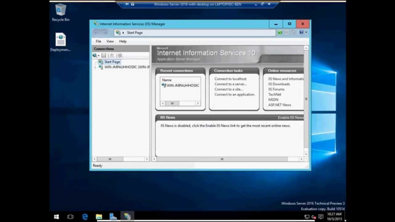 Windows Server 2016 Technical Preview 3 - Installing SMTP and browsing the  new IIS 10