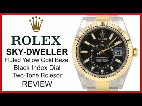Rolex SKY-DWELLER: Two-Tone Yellow-Gold/Steel, black Dial, fluted Bezel, Oyster - REVIEW 326933