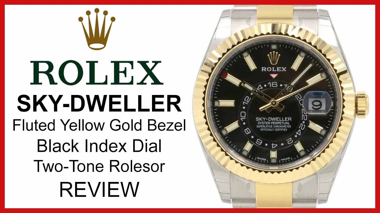 Rolex SKY,DWELLER Two,Tone Yellow,Gold/Steel, black Dial, fluted Bezel,  Oyster , REVIEW 326933