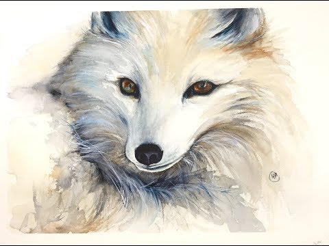 Winter Fox in Watercolors Painting Tutorial