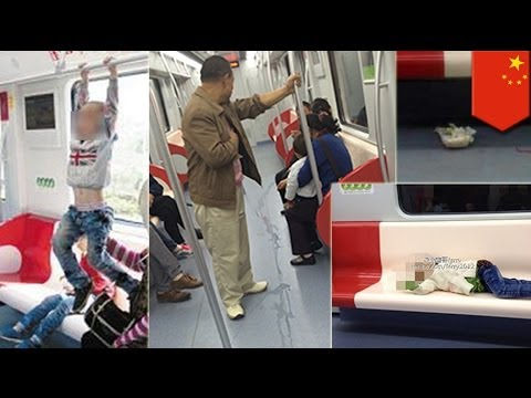 Chinese rudeness: Chinese people eating and peeing on newly opened metro