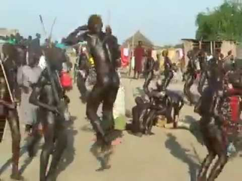 In south sudan mundari tribe are dancing