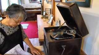 ノラの家と 手動の蓄音機 Manual gramophone record player