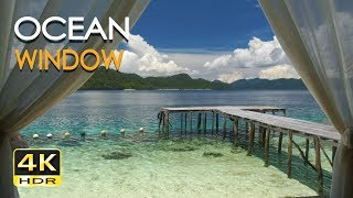4K HDR Ocean Window - Tropical Sea View - Relaxing Lapping Wave Sounds - Ultra HD Nature Video