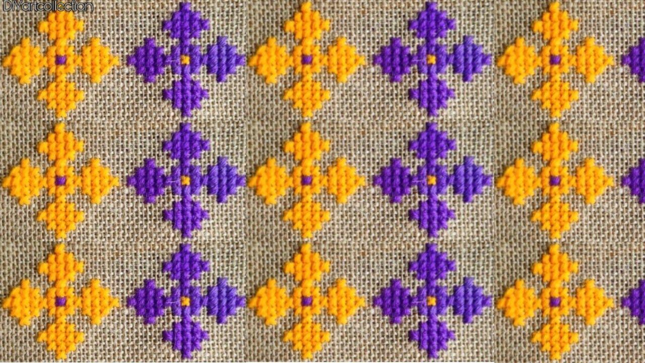 Woolen cross stitch flower doormat design-how to make sitting mat design-stitch ason,rugs,tablemat