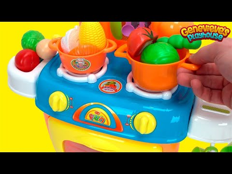 Thumbnail: Toy Kitchen Playset for Kids - Learn Food Names Kitchen Playset Cutting Velcro Toy Foods Movie!