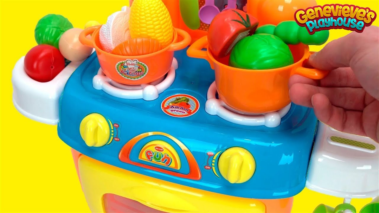 kids kitchen toys drawer knobs learn food names with a toy playset and velcro foods youtube