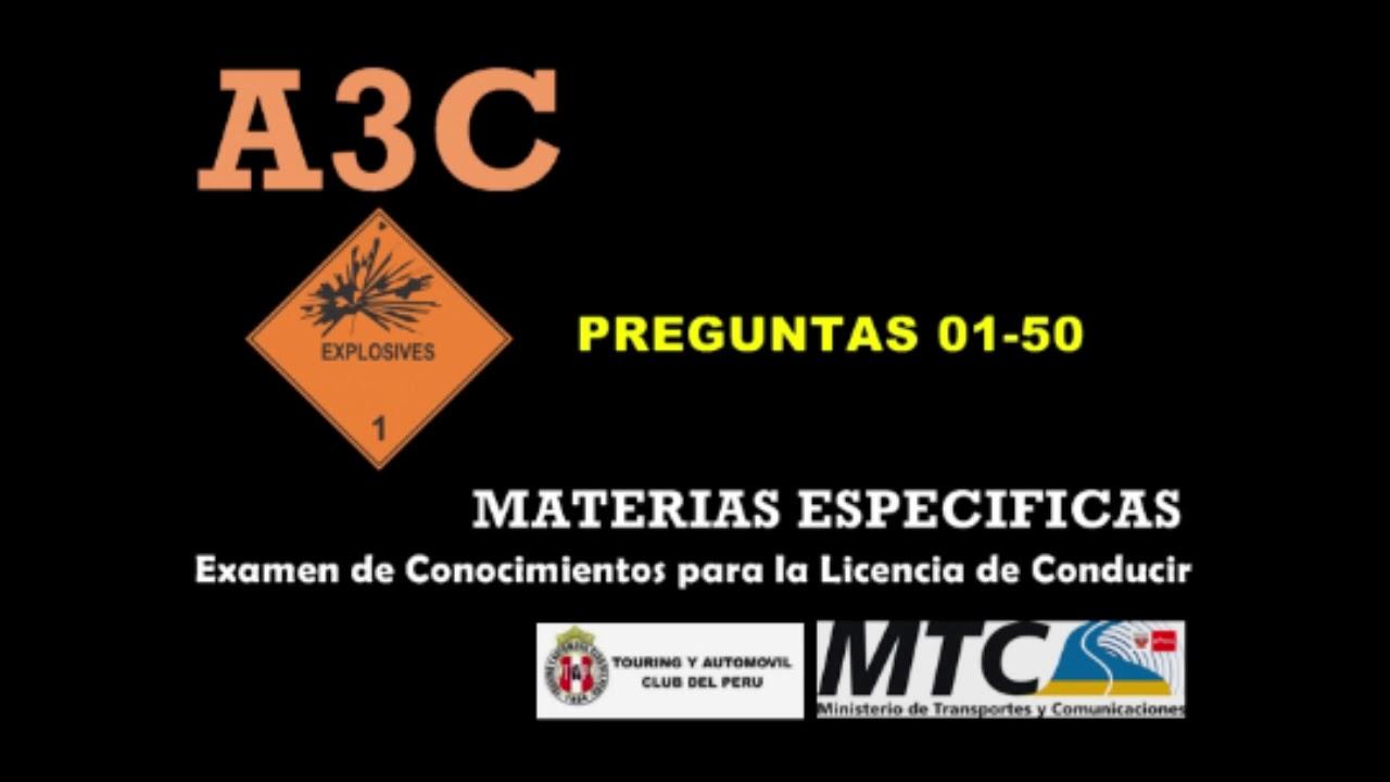 Preguntas 2021 Aiiic 1 4 Examen De Conocimientos Licencia De Conducir A3c Touring Mtc Peru Audio Youtube