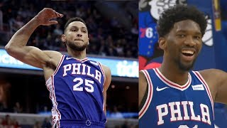 Ben Simmons 27 Points Career High! Embiid Funny Flop! 2017-18 Season