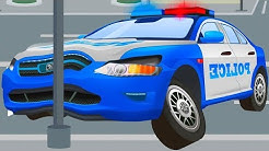 The Blue Police Car - Cars & Trucks Cartoons - Vehicle & Chi Chi Car for children Part 4
