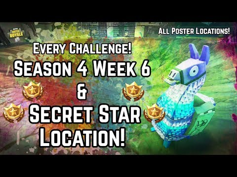 Every Season 4 Week 6 Challenge! All 14 Posters & Secret Battlestar Location! Fortnite Battle Royale