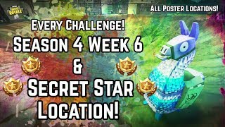Every Season 4 Week 6 Challenge! All 14 Posters & Secret Battlestar Location! Fortnite Battle Royale