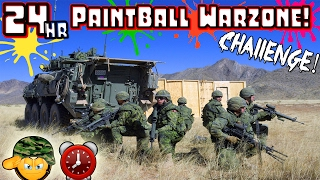 (GONE WRONG) 24 HOUR OVERNIGHT CHALLENGE PAINTBALL WAR ZONE // SNEAKING IN CHALLENGE GONE WRONG! ⏰