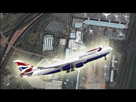 British Airways jet wing slices Johannesburg airport building