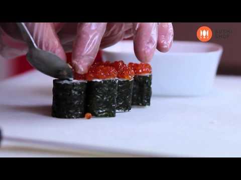 Как приготовить ролл с красной икрой. Суши шоп. / How To Make Salmon Roe Sushi.