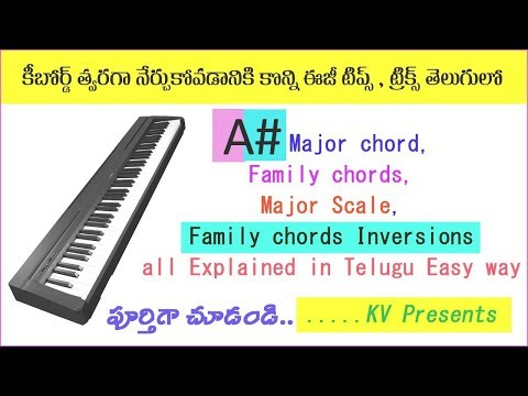 A Sharp major scale, chord, family chords & Inversions // telugu