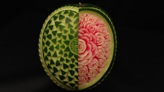 Open Your Heart Watermelon Rose - Advanced Lesson 12 By Mutita The Art In Fruit Vegetable Carving
