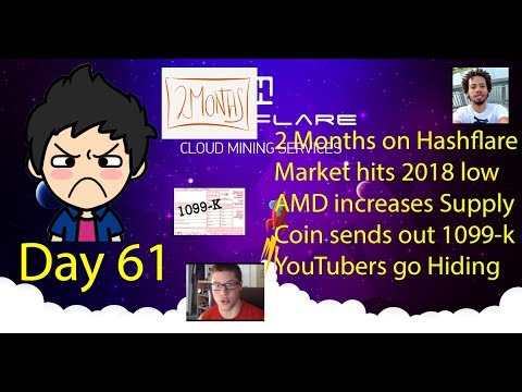 Cloud Mining - Day 61 - Thoughts 2 months, YouTuber Hides, AMD increases Supply, Coin send 1099