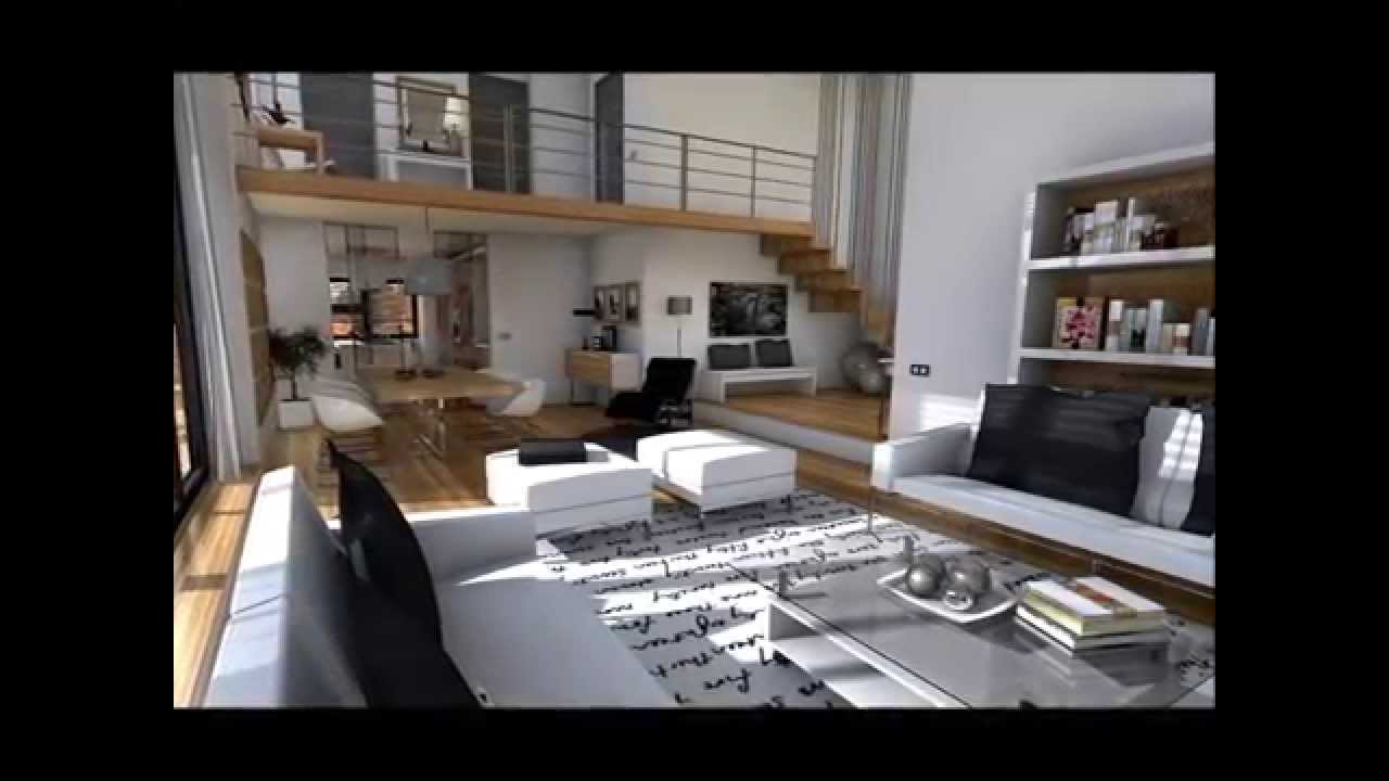 Dise o interior loft minimalista youtube for Diseno interior minimalista