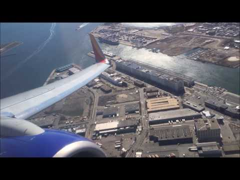 Southwest Takeoff from Boston with Awesome views of South Boston and Hospital Ship in Drydock