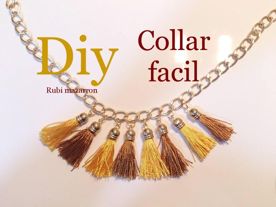 Diy collar con borlas o pompones muy facil youtube - Como hacer borlas de hilo ...