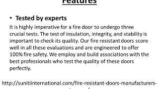 Fire Resistant Door | Suniti Constructions