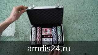 Набор для покера: 200 фишек, 2 колоды карт, 30x21 см
