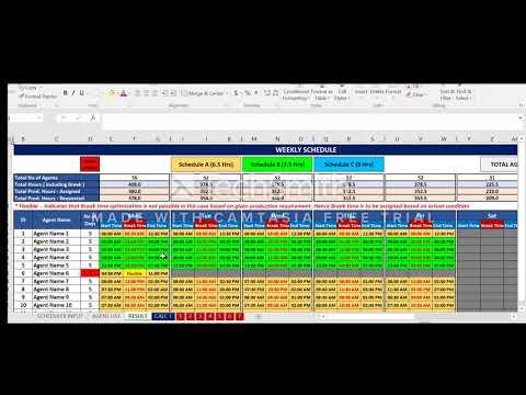Call Center Staff Scheduler or Workforce Management Tool using Excel / VBA