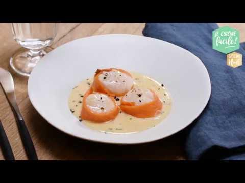 recette facile de saint jacques au saumon fum sauce. Black Bedroom Furniture Sets. Home Design Ideas