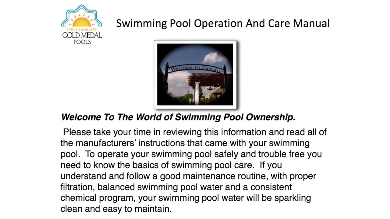 Pool Owner - Operations Manual