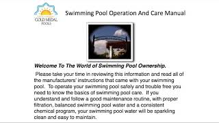 Pool Owner Operations Manual - Welcome | Gold Medal Pools