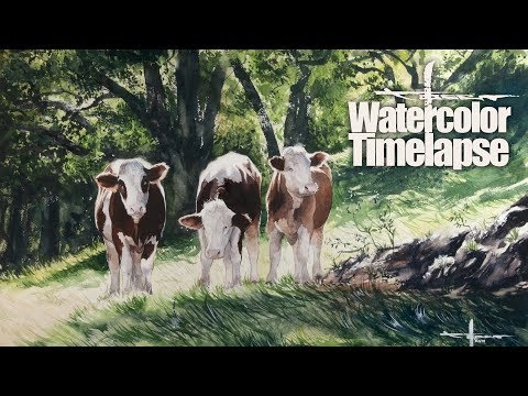 Watercolor [Speed painting – Timelapse]  Landscape – Bavarian Cows