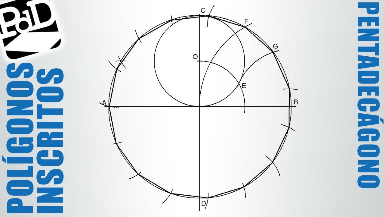 Pentadecágono inscrito en una circunferencia (polígono de