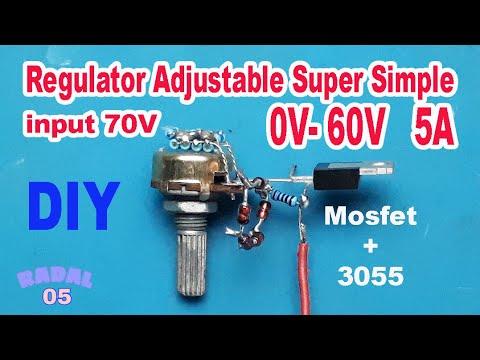 Cara Membuat Regulator Adjustable 0-60Vdc 5A Dengan Mosfet DIY Rangkaian Penurun Tegangan