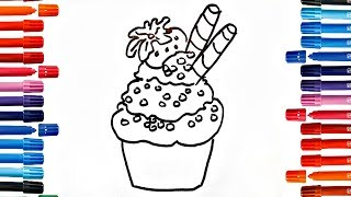 Drawing Ice Cream Cup Coloring Book Fun Painting