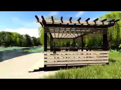 Деревянная беседка с плоской крышей