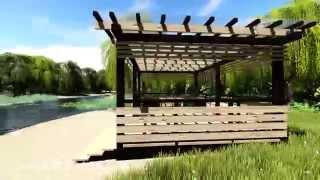 Деревянная беседка с плоской крышей(Простая и стильная беседка с крышей из поликарбоната., 2015-04-26T17:38:25.000Z)