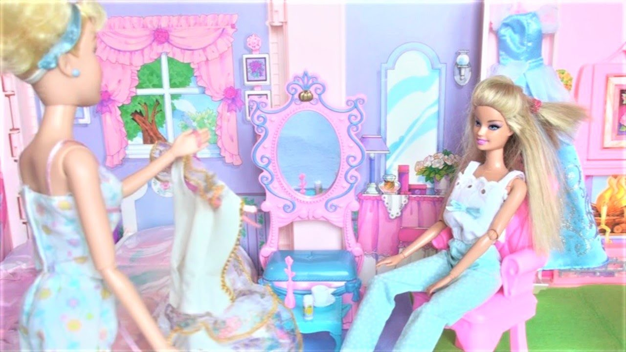 Cinderella And Barbie Morning Routine Sleepover Makeup Dress Up In